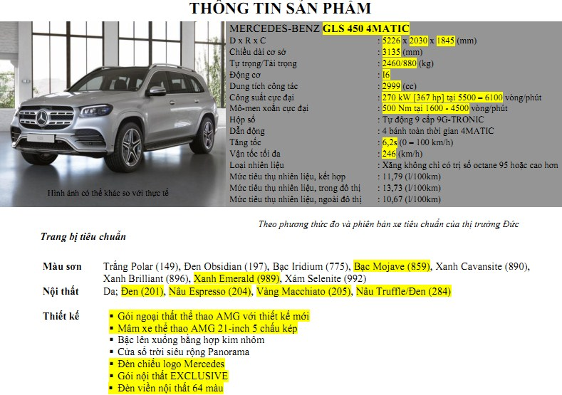Thông số kỹ thuật Mercedes GLS 450 mới nhất